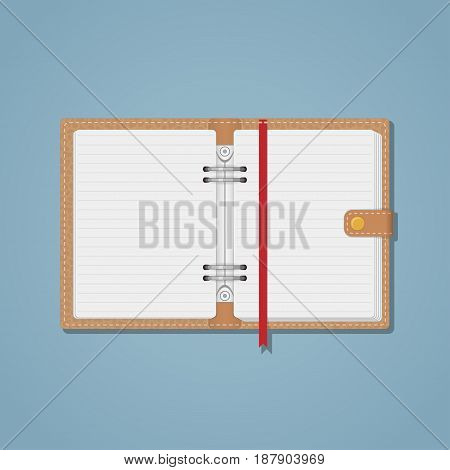 Notebook with the texture of the skin on the cover and stitches along the contour. White sheets in a line red long bookmark. The diary on the golden rivet.