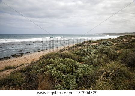 Western Australian rough costline with gray sky