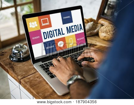 Digital media concept on a device screen