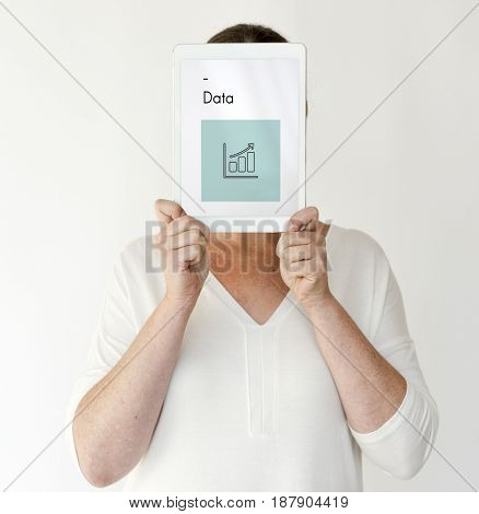Woman holding network graphic overlay digital device covering face