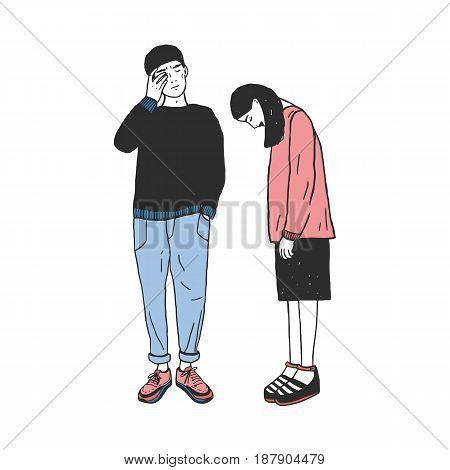 Concept of divorce, crack in relationships, family split. Sad girl and guy after parting. Colorful vector hand drawn illustration