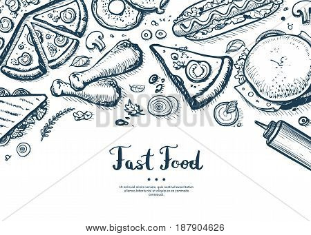 Fast food menu cover in vintage style. Hand drawn vector background with burger, pizza, chicken, hot dog, drink doodles. Cafe bar price catalog, junk food retro poster with snack linear sketches