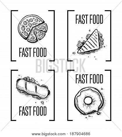 Fast food hand drawn doodle set. Vintage isolated vector elements of sandwich, pizza, hot dog and donut. Restaurant and cafe menu symbols, junk food icon collection with snack linear sketches