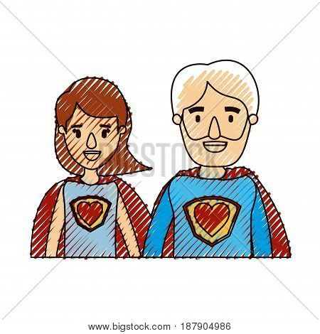 color crayon stripe caricature half body couple parents super hero with heart symbol in uniform vector illustration