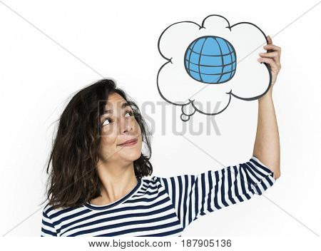 Woman holding banner network graphic overlay background