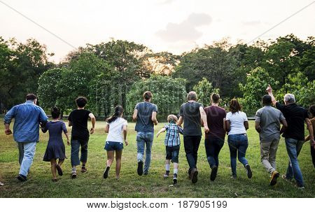 Group of Diverse People Running Together Teamwork