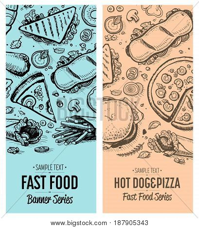 Fast food vintage advertising set. Restaurant vector illustration with burger, pizza, sandwich, french fries elements. Cafe price card cover, junk food retro design with snack linear sketches