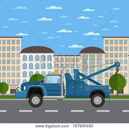 Tow truck or car evacuator on road in urban landscape. Service auto vehicle, emergency transport, urban roadside assistance. City street road traffic vector illustration, cityscape background