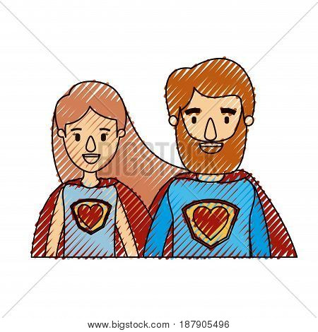 color crayon stripe caricature half body couple female and male super hero with heart symbol in uniform vector illustration