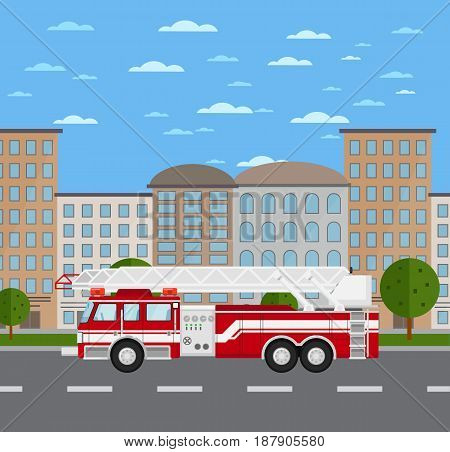 Fire truck on road in urban landscape. Service auto vehicle, city emergency transport, urban roadside assistance. City street road traffic vector illustration, cityscape background