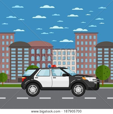 Police suv on road in urban landscape. Service auto vehicle, city emergency transport, urban roadside assistance. City street road traffic vector illustration, cityscape background