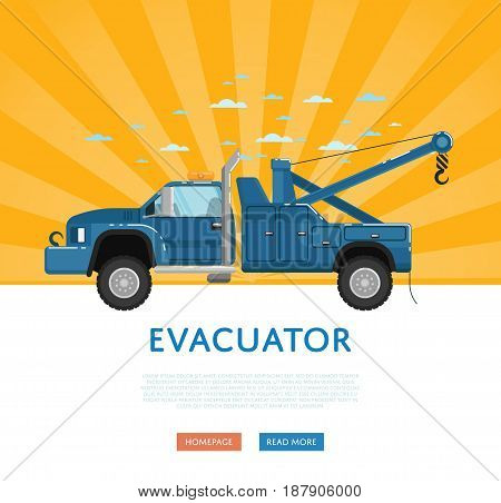 Website design with tow truck. Car evacuator on yellow striped background banner. Online auto business, service auto vehicle, emergency transport, urban roadside assistance vector illustration