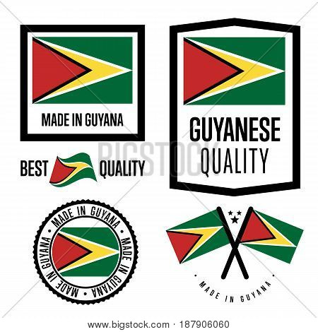 Gayana quality isolated label set for goods. Exporting stamp with gayanese flag, nation manufacturer certificate element, country product vector emblem. Made in Gayana badge collection.