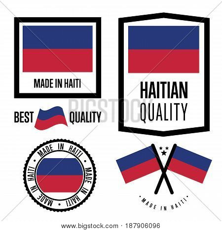 Haiti quality isolated label set for goods. Exporting stamp with haitian flag, nation manufacturer certificate element, country product vector emblem. Made in Haiti badge collection.