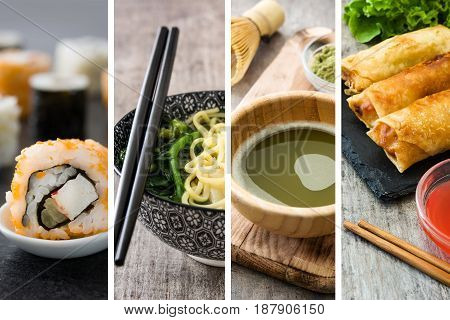 Chinese food collage with sushi, green matcha tea, wonton soup and spring rolls