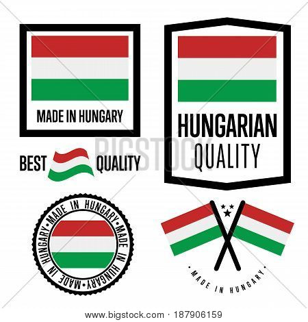 Hungary quality isolated label set for goods. Exporting stamp with hungarian flag, nation manufacturer certificate element, country product vector emblem. Made in Hungary badge collection.