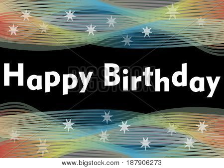 Happy birthday party banner with rainbow horizontal wavy patterns and white transparent stars, vector EPS 10