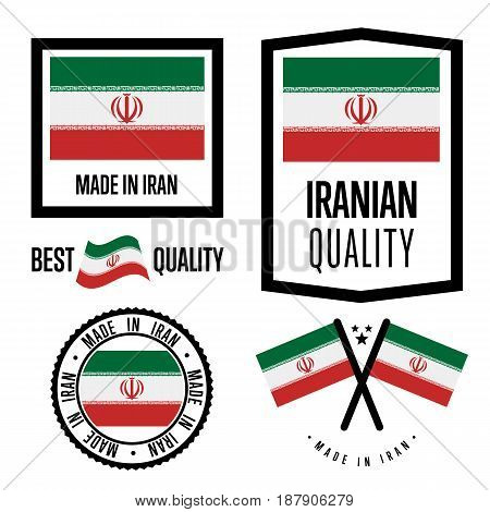 Iran quality isolated label set for goods. Exporting stamp with iranian flag, nation manufacturer certificate element, country product vector emblem. Made in Iran badge collection.