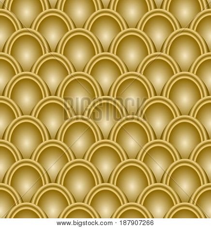 Gold scale pattern embossed, seamless luxury background, op-art with 3d illusion, vector EPS 10