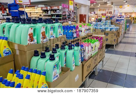 Liquid Laundry Detergent Bottles For Sale At Israeli Food Supermarket