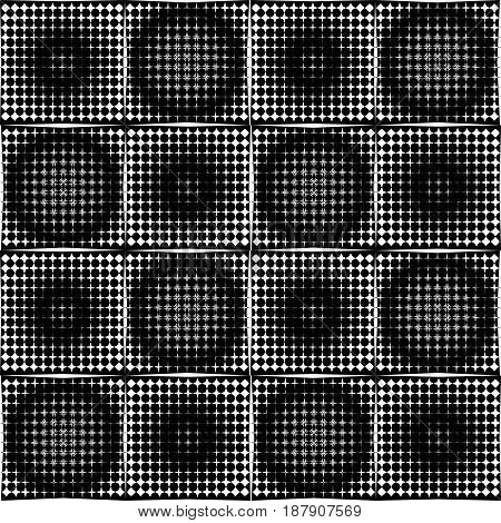 Black and white halftone circle pattens in checker background, seamless tileable vector ornamentt, vector EPS 10