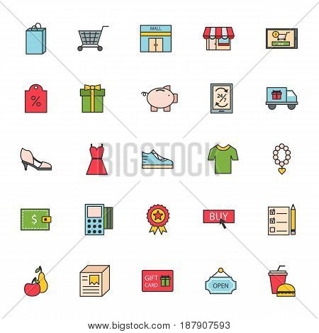Thin lines shop store delivery service web icons commerce shopping buy sale business vector illustration. Shipping technology ecommerce website purchase concept
