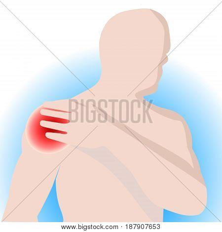 illustration vector of shoulder bone and joint pain mens shoulder