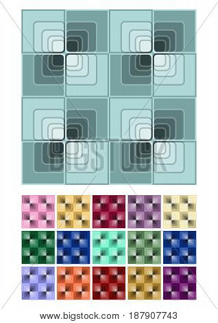 Seamless abstract background with blue checker patterns in minimal design, mega set of color variants, 3d optical art illusion, vector EPS 10