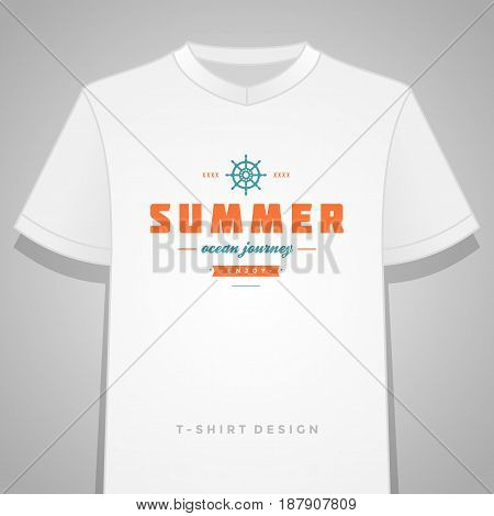 Summer holidays typography tee shirt print graphics template vector illustration. Badge or Label stamp for t-shirt apparel design. Summer symbols and decoration elements.