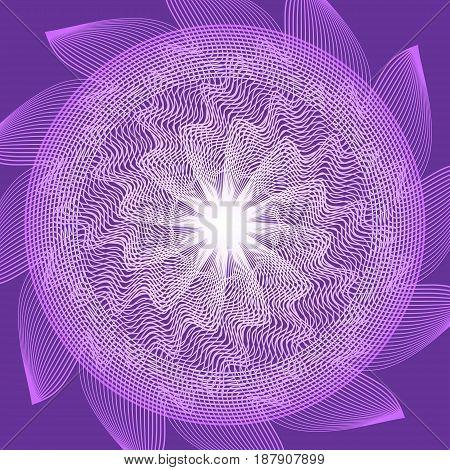 Purple circle mandala in optical art style for spiritual training and meditation, vector EPS 10