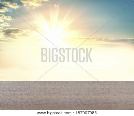 Concrete plane against the background of sunrise or sunset. Background for your design. Empty space for content. 3d illustration