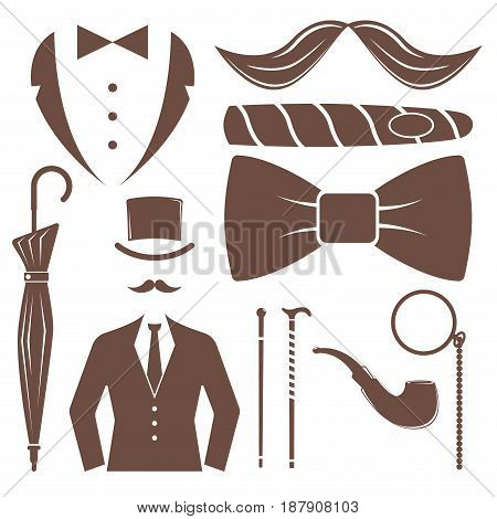 Vintage style design hipster gentleman symbol vector illustration antique graphic design retro element. Premium quality man shop classic fashion moustache club barber sign brown silhouette.