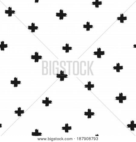 Randomly scattered crosses painted with a rough brush. Seamless pattern. Grunge. Vector illustration. Black white.