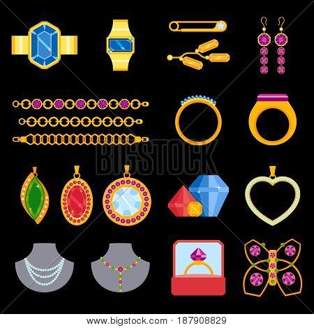 Traditional golden jewellery bangles diamond luxury necklace precious jewelery vector illustration. Fashion jewelry decoration beautiful glamour accessory. Jewelry earrings, brooch, chain, art