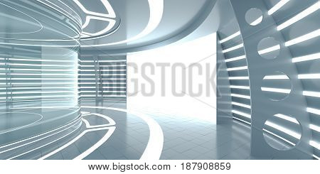 Futuristic interior with empty glass showcase and glow panel. 3d rendering