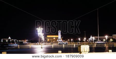 Beijing China - May 15 2017; Tiananmen Square night view, The main gate of the ancient imperial city. during the Beijing International Conference. Beijing China