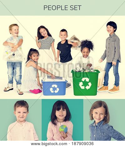 Set of Diversity Kids with Recycle Environmental Friendly Studio Collage