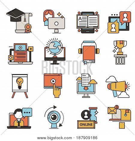 Set of flat design icons for online education video tutorials staff training book store learning research knowledge vector illustration. Internet technology distance profession service web concept.