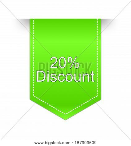 green 20 % Discount label - illustration