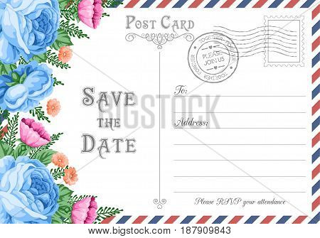 Vintage postcard wedding invitation template with flowers. Save the Date card. Vector Illustration