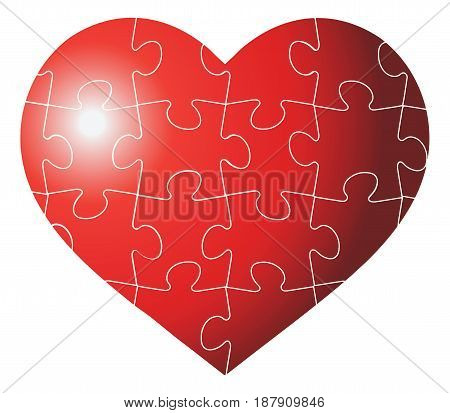 Colorful heart shaped puzzle vector graphic template illustration isolated on white background