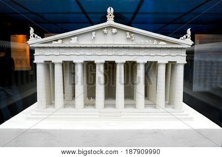 ATHENS-GREECE-18-12-2016-Acropolis museum: Detailed miniature model of Parthenon in Acropolis Athens