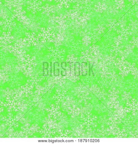 Showflakes Seamless Pattern on Green Background. Winter Christmas Natural  Texture