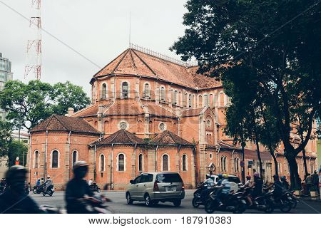 Notre-Dame Cathedral Basilica of Saigon. Cathedral Basilica of Our Lady of The Immaculate Conception. Back view. Ho Chi Minh city Vietnam 12 may 2017