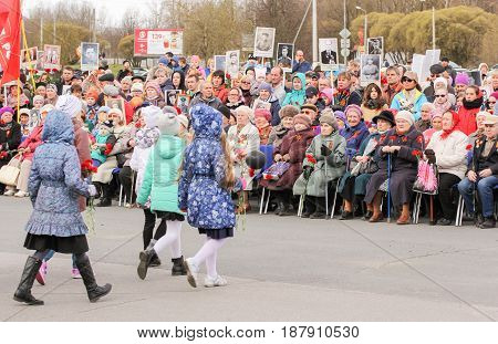 Kirishi, Russia - 9 May, Festive rally in the square, 9 May, 2017. Holding a festive rally dedicated to the Victory Day.
