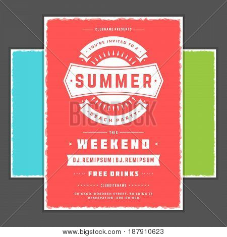 Retro summer party design poster or flyer. Night club event typography. Vector template illustration EPS 10. Included 3 backgrounds with color variation.