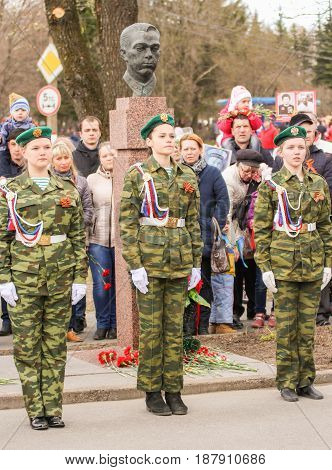 Kirishi, Russia - 9 May, Honor guard in military uniform, 9 May, 2017. Holding a festive rally dedicated to the Victory Day.