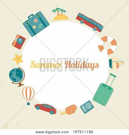 Summer holidays background with travel icons. Vector illustration
