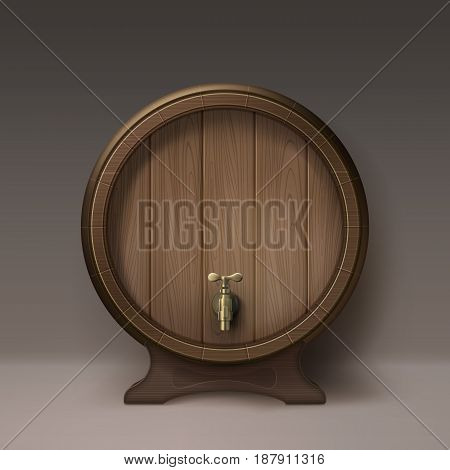 Vector old wooden barrel on rack with bronze stopcock front view isolated on background