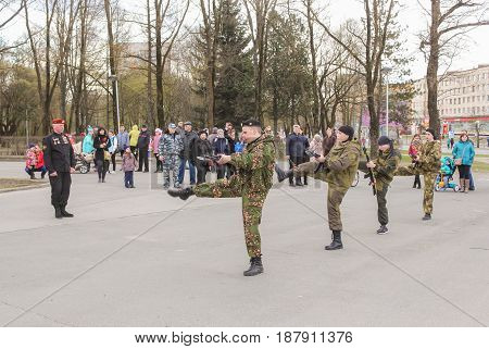Kirishi, Russia - 9 May, Simultaneous performance of fighters, 9 May, 2017. Holiday demonstration speeches of special forces soldiers in honor of Victory Day.